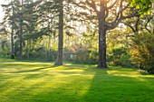 MORTON HALL, WORCESTERSHIRE: LAWN, TREES, JAPANESE TEA HOUSE, SUNRISE, APRIL, SPRING