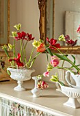 MARBURY HALL, SHROPSHIRE: DESIGNER SOFIE PATON-SMITH: TULIPS IN CONSTANCE SPRY VASES IN THE FLOWER ROOM. ARRANGEMENTS, CUTTING, GARDEN, CUT, FLOWERS, SPRING