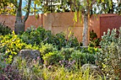 RADICEPURA GARDEN FESTIVAL, SICILY, ITALY: DESIGNER ANDY STURGEON, LAYERS, WALLS, BRACHYCHITON RUPESTRIS, QUEENSLAND BOTTLE BRUSH, GRAVEL PATHS, LEPTOSPERMUM