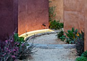 RADICEPURA GARDEN FESTIVAL, SICILY, ITALY: DESIGNER ANDY STURGEON, LAYERS, WALLS, LEPTOSPERMUM, WATER FEATURE, SPOUT, LIGHTS, LIGHTING, GRAVEL
