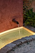 RADICEPURA GARDEN FESTIVAL, SICILY, ITALY: DESIGNER ANDY STURGEON, LAYERS, WALLS, WATER FEATURE, SPOUT, LIGHTS, LIGHTING, GRAVEL, CANAL