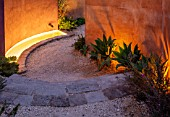 RADICEPURA GARDEN FESTIVAL, SICILY, ITALY: DESIGNER ANDY STURGEON, LAYERS, WALLS, WATER FEATURE, SPOUT, LIGHTS, LIGHTING, GRAVEL