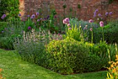 DESIGNER JAMES SCOTT, THE GARDEN COMPANY: LAWN, SQUARE MEADOW, ALLIUM GLADIATOR, SALVIA CARADONNA, NEPETA WALKERS LOW, MAY, SPRING, ALLIUMS