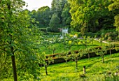 PAINSWICK ROCOCO GARDEN, GLOUCESTERSHIRE: ART UNBOUND - THE EXEDRA SEEN THROUGH TREES. LANDSCAPE, GREEN, BUILDINGS, FOLLIES, FOLLY