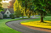 WINSON MANOR, GLOUCESTERSHIRE: SWEEPING CURVED DRIVE PAST LAWN, MORNING LIGHT, DAWN, ENGLISH, COUNTRY, GARDEN