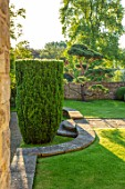 WINSON MANOR, GLOUCESTERSHIRE: LAWN, WALL, CLIPPED TOPIARY CLOUD PRUNED SCOTS PINE - PINUS SYLVESTRIS, YEW HEDGE, TREES, SUMMER, GREEN, GARDENS