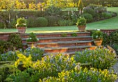 MANOR FARM, CHESHIRE: THE FORMAL HERB GARDEN, STEPS, TERRACOTTA CONTAINERS, LAWN, AMSONIA SALICIFOLIA, ENGLISH, COUNTRY, GARDEN