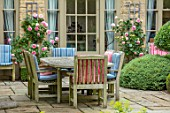 WINSON MANOR, GLOUCESTERSHIRE: PATIO, TERRACE, SUMMER, TABLE, CHAIRS, CUSHIONS, ENTERTAINING, DINING, ROSES