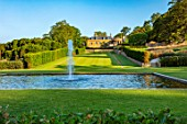 THE NEWT IN SOMERSET: VIEW TO HOUSE ACROSS BATHING POND, FOUNTAIN, LONG GRASS WALK, JULY, ENGLISH, COUNTRY, GARDENS