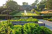 THE NEWT IN SOMERSET: VIEW TO HOUSE ACROSS KITCHEN GARDEN, POTAGER, BATHING POND, FOUNTAIN, LONG GRASS WALK, JULY, ENGLISH, COUNTRY, GARDENS