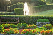 THE NEWT IN SOMERSET: VIEW TO BATHING POND, FOUNTAIN,, FROM KITCHEN GARDEN, POTAGER, SEAT, SEATING, NASTURTIUMS, JULY, ENGLISH, COUNTRY, GARDENS