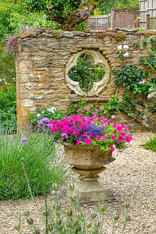 ADAMS_POOL_GLOUCESTERSHIRE_HEMEROCALLIS_GRAVEL_COURTYARD_STONE_CONTAINER_FOLLY_WALL_WITH_QUATREFOIL_