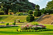 CANONS ASHBY, NORTHAMPTONSHIRE, THE NATIONAL TRUST - LAWNS, SUNDIAL, CEDAR OF LEBANON, BEDDING, BEDS, EVENING, JULY, STEPS, SLOPES, CLIPPED, TOPIARY, YEW