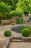 ADAMS POOL, GLOUCESTERSHIRE: COURTYARD, BOX BALLS, GRAVEL, LAVANDULA ANGUSTIFOLIA, WOODEN BENCH, TOPIARY, GARDEN, COTSWOLDS, STONE URN, CONTAINER