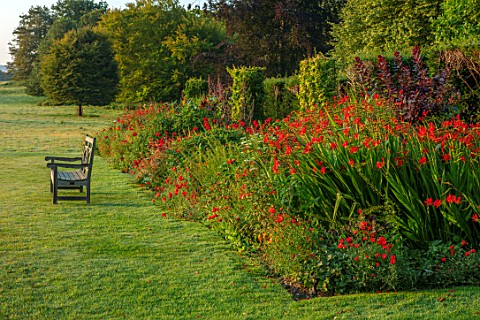 GLYNDEBOURNE_EAST_SUSSEX_LAWN_BORDER_OPERA_HOUSE_CROCOSMIA_HELLFIRE_CROCOSMIA_LUCIFER_DAHLIA_BISHOP_