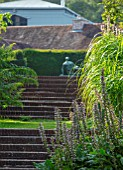 GLYNDEBOURNE, EAST SUSSEX- ACANTHUS, STEPS AND HENRY MOORE STATUE