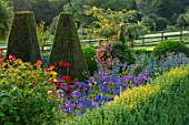PETTIFERS, OXFORDSHIRE, DESIGNER GINA PRICE: THE PARTERRE IN AUGUST - DAHLIA MURDOCH AND AGAPANTHUS HEADBOURNE HYBRIDS, YEW, MORNING LIGHT, SUNRISE