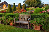PETTIFERS, OXFORDSHIRE, DESIGNER GINA PRICE: THE PARTERRE IN AUGUST - WOODEN SEAT, BENCH, DAHLIAS INCLUDING JESCOATE JULIE AND MOONSHINE, MORNING, LIGHT, SUNRISE, YEW