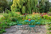 ULTING WICK, ESSEX: PATIO, TERRACE, GREEN METAL TABLE, CHAIRS, WILLOW TREE, ENGLISH, COUNTRY, GARDEN