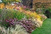 PETRA HOYER MILLAR GARDEN, OXFORDSHIRE: CASTLE END HOUSE - LAWN, BORDER, SEDUM MATRONA, ECHINACEA PURPUREA RUBINSTERN, SANGUISORBA LILAC SQUIRREL, STIPA TENUISSIMA