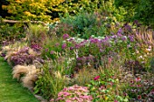 PETRA HOYER MILLAR GARDEN, OXFORDSHIRE: CASTLE END HOUSE - LAWN, BORDER, SEDUM MATRONA, SEDUM AUTUMN JOY, EUPATORIUM PURPUREUM, PHLOX JEANA, ROMNEYA COULTERI, STIPA TENUISSIMA