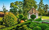 MITTON MANOR, SHROPSHIRE: THE PAVILION GARDEN. BOX BALLS, WHITE PAVILION, GARDEN BUILDING, GAZEBO, SEPTEMBER