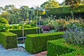 MITTON MANOR, STAFFORDSHIRE: TOPIARY GARDEN, FORMAL, COUNTRY, BOX, TOPIARY, HEDGES, HEDGING, EVERGREEN, SEPTEMBER, NEIL WILKIN SCULPTURES