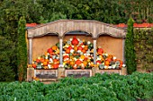 EYTHROPE WALLED GARDEN, BUCKINGHAMSHIRE: PUMPKINS AND SQUASHES IN THE AURICULA THEATRE, OCTOBER, FALL, GARDENS, VEGETABLES, POTAGER, KITCHEN, EDIBLES