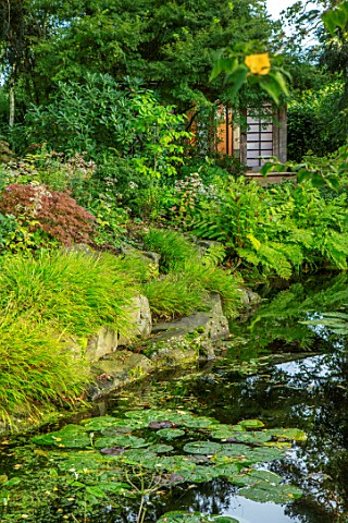 MORTON_HALL_WORCESTERSHIRE_STROLL_GARDEN_OCTOBER_JAPANESE_TEA_HOUSE_BUILDING_WATER_POND_POOL_ACER_PA