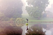 FORDE ABBEY, SOMERSET: MERMAID POND, OCTOBER, DAWN, SUNRISE, WATER, FORMAL, POND, POOL, STATUE OF LEDA SEDUCED BY ZEUS IN THE FORM OF A SWAN, REFLECTIONS, REFLECTED