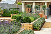 DESIGNER ANTHONY PAUL: SMALL, TOWN, FORMAL, GRAVEL, LAVENDER, RAISED, BEDS, CLIPPED, TOPIARY, LONDON