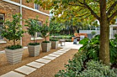 DESIGNER ANTHONY PAUL: SMALL, TOWN, FORMAL, GRAVEL, PATH, STONE, SLABS, PAVING, HOUSE, CONTAINERS, LONDON