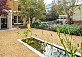 DESIGNER ANTHONY PAUL: SMALL, TOWN, FORMAL, GRAVEL, WATER FEATURE, POOL, POND, CANAL, LONDON