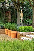 DESIGNER ANTHONY PAUL: SMALL, TOWN, FORMAL, LONDON, RAISED, BEDS, BOX BALLS IN CONTAINERS, PATHS, PAVING, STEPS, SCULPTURE, WOODLAND, SHADE, SHADY