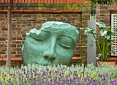 DESIGNER ANTHONY PAUL: SMALL, TOWN, FORMAL, LONDON, WALLS, HEAD SCULPTURE, LAVENDER