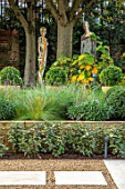 DESIGNER ANTHONY PAUL: SMALL, TOWN, FORMAL, LONDON, WALLS, SCULPTURE, ELEAGNUS HEDGE, HEDGING, RAISED BEDS, WOODLAND