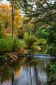 THORP PERROW ARBORETUM, YORKSHIRE: STREAM THROUGH THE GARDEN IN AUTUMN, FALL, WATER, STREAMS