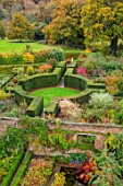 SISSINGHURST CASTLE, KENT: THE NATIONAL TRUST - VIEW OF THE GARDEN IN AUTUMN FROM THE TOWER