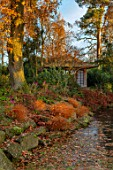 MORTON HALL GARDENS, WORCESTERSHIRE: STROLL GARDEN, WINTER. HAKONECHLOA MACRA, ACER, MAPLES, TREES, SHRUBS, JAPANESE, TEA HOUSE, BUILDING, GARDEN, ROOM