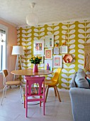 RACHEL HENDERSON HOUSE, EDINBURGH, SCOTLAND: LIVING ROOM. YELLOW, PINK, WHITE,BRIGHT, COLOURS, CHAIRS, TABLE