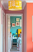 RACHEL HENDERSON HOUSE, EDINBURGH, SCOTLAND: COLOURFUL VIEW TO BEDROOM. BRIGHT, PINK, YELLOW, TANGERINE
