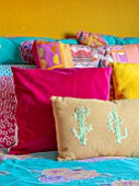 RACHEL HENDERSON HOUSE, EDINBURGH, SCOTLAND: BEDROOM, PINK, BLUE, YELLOW, CUSHIONS, BRIGHT, COLOURS