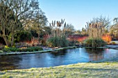 ST TIMOTHEE, BERKSHIRE - LAWN, WINTER, FROST, FROSTY, POOL, POND, PAMPAS GRASS, CORTADERIA SELLOANA, CORNUS MIDWINTER FIRE