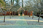 BRYANS GROUND, HEREFORDSHIRE - WINTER GARDEN, FROST, FROSTY, JANUARY, BUILDING, HEDGE, HEDGING, BEECH, VISTA, VIEW, ALONG. PATH, FRUIT TREES, FOLLY