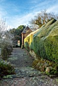 BRYANS GROUND, HEREFORDSHIRE: THE SUNK GARDEN, ARTS AND CRAFTS, PATH, CLIPPED YEW HEDGING, HEDGES,TOPIARY, THE LANTERN, FOLLY, FOLLIES, FORMAL, COUNTRY GARDEN, FROST, FROSTY