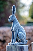 BRYANS GROUND, HEREFORDSHIRE: SQUARE OF HARE SCULPTURE, FROST, FROSTY, WINTER, JANUARY, GARDEN, ORNAMENT, SCULPTURE, FORMAL