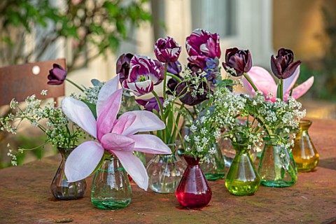 DESIGNER_ANGELA_COLLINS_RED_AND_GREEN_GLASS_JARS_CONTAINERS_ON_TABLE_WITH_MAGNOLIA_AND_TULIPS_FLOWER