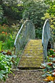 HALL O TH WOOD, CHESHIRE: METAL BRIDGE IN BOG GARDEN, SHADE, SHADY, SPRING, APRIL