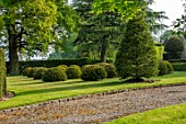 HALL O TH WOOD, CHESHIRE: HOUSE, LAWN, SPRING, APRIL, CLIPPED, TOPIARY, SHAPES, GREEN, YEW, TAXUS, LAWN, DRIVE