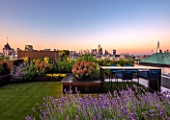 ROOF GARDEN, LONDON, DESIGNERS ANA SANCHEZ - MARTIN, LUCY WILLCOX - ROOF GARDEN, ASTROTURF, POWDER COATED ALUMINIUM SEATS, TABLE, WALL, EUPHORBIA X MARTINII, AGASTACHE BLACK ADDER